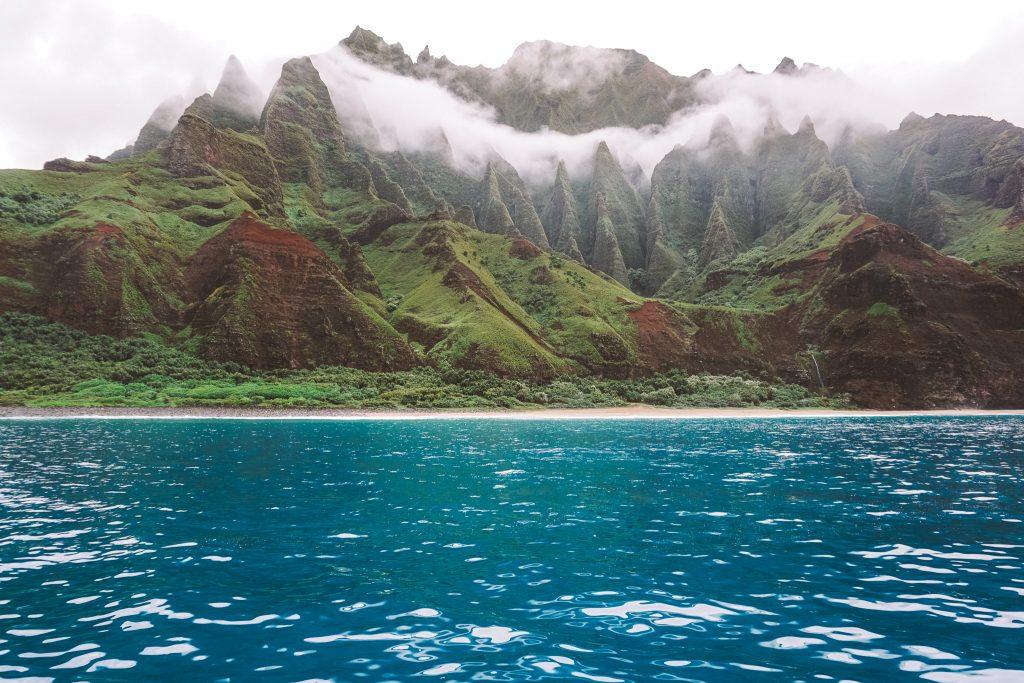 Mountains and ocean on the Na Pali coast Kauai Hawaii