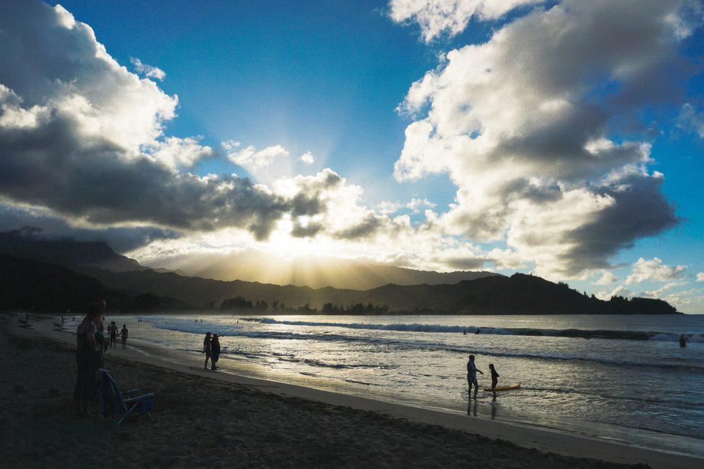 sunset at Hanalei Bay beach