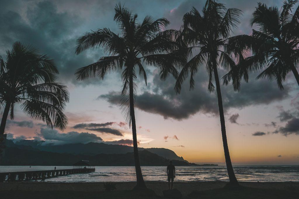 sunset at hanalei bay pier kauai hawaii